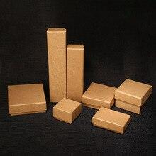 2019 nowy 20 sztuk/partia brązowy papier pakowy pudełka na biżuterię pudełka do pakowania prezentów organizator Charms zegarek pierścionek kolczyk biżuteria Box hurtownie