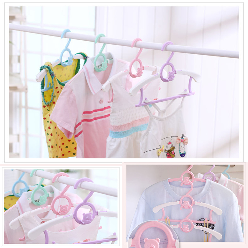 EZLIFE Durable Child Kids Baby Clothes Hangers Telescopic Clothes Cute Cartoon Hangers Coat Dress Clothes Racks