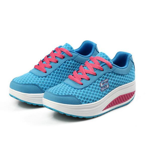 Fashion 2016 Brand Spring Women Casual Shoes Breathable Hight Increasing Breathable Mesh Women Walking Flats Trainers Shoes