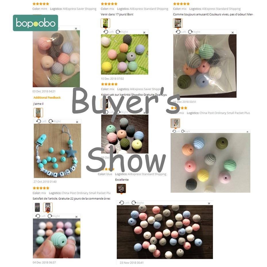 Купить с кэшбэком Bopoobo 10pcs Silicone Beads Baby Teething Round Spiral Beads Food Grade Beads 15mm DIY Threaded BPA Free Beads Baby Teethers