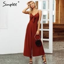 Simplee Bow tie adjustable women jumpsuit Elegant solid spring 2019 long jumpsuit Chic wide leg casual