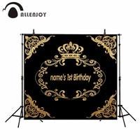 Allenjoy Vinyl Material Photography Black Gold Shining Children Crown Birthday New Photography Backdrops Photo Studio Props