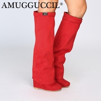 Customize Plus Big Size 34 46 Red Zip Fashion Sexy Knee High Heel Platform Wedges Autumn Winter Ladies Females Women Boots X1758