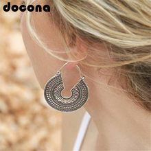 e1f5ce04459c Docona antiguo hueco geométrico gota aretes para las mujeres tribales de  plata de oro colgante gancho pendientes Boho joyería 56.