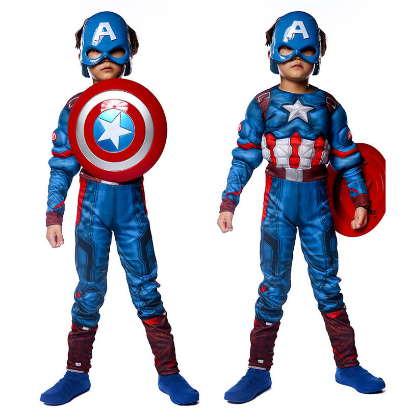 Boys Captain America Theatrical Steve Rogers Costume Blue Superhero Muscle Jumpsuit Fantasia Fancy Dress Outfit