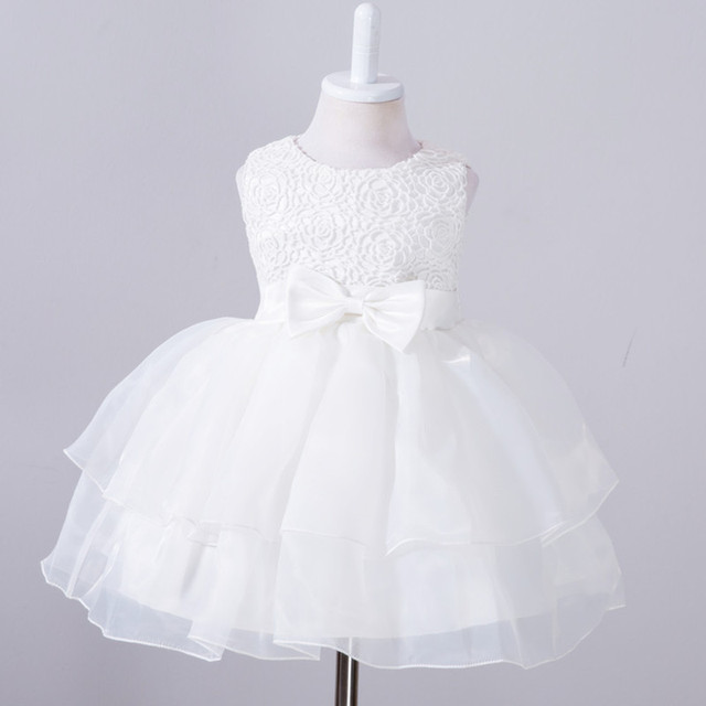 2017 Newborn tutu Dress For Baby Girl 1 yrs Birthday Party custumes Sleeveless Toddler Girls Clothes white pink purple blue