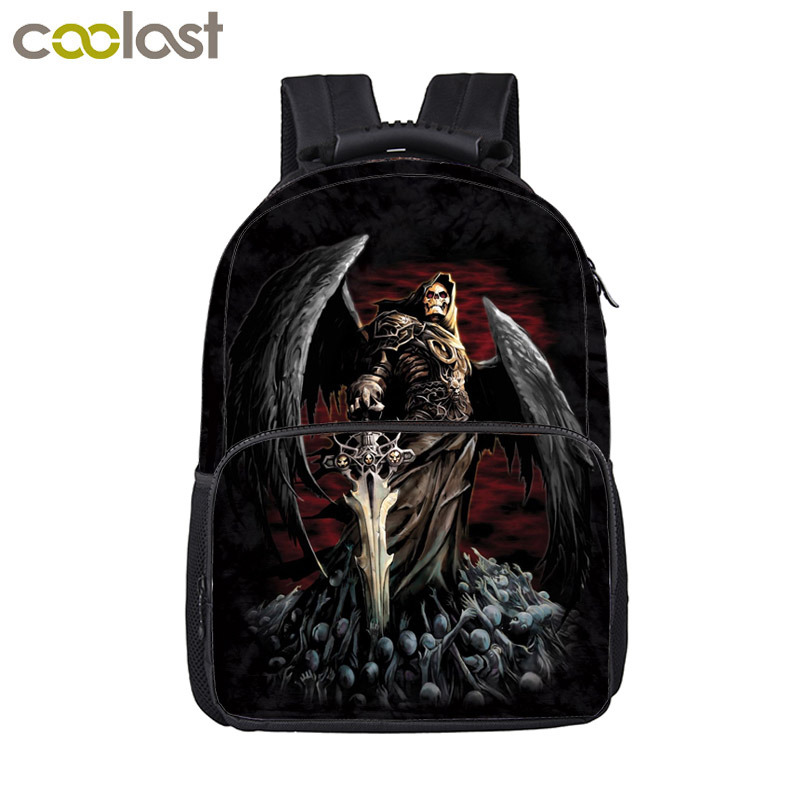 Cool Death Skull Backpack For Teenage Boys Children School Bags Men Women Hip Hop Bag Rock Laptop Backpack Kids Book Bag new 3d skull backpack shoulder bags for men printing backpack men punk rock school backpack for men casual school bags for boys