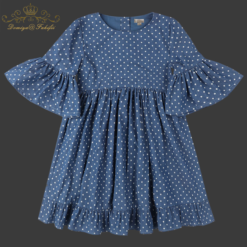Girls Dress 2018 Spring Autumn Brand Princess Polka Dot Dress Girls Clothes Vestidos Children Costumes for Kids Denim Dresses цены