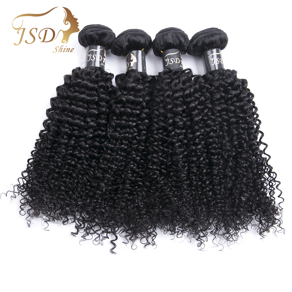 JSDshine 4PC Vietnamese Kinky Curly Hair Weave Non-Remy Human Hair Bundles 8-28Inch Natural Color Hair Double Weft Free Shipping