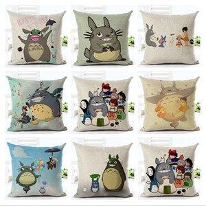 Hayao miyazaki Cartoon Style Home Decor Cojines Totoro Cushion Sofa Throw Pillow High Quality Cotton Linen Printed Square Fundas