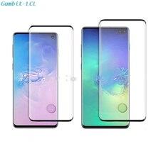 Protector de pantalla de cristal templado 3D para Samsung Galaxy S10 Plus, con reconocimiento de huella dactilar, S10 +
