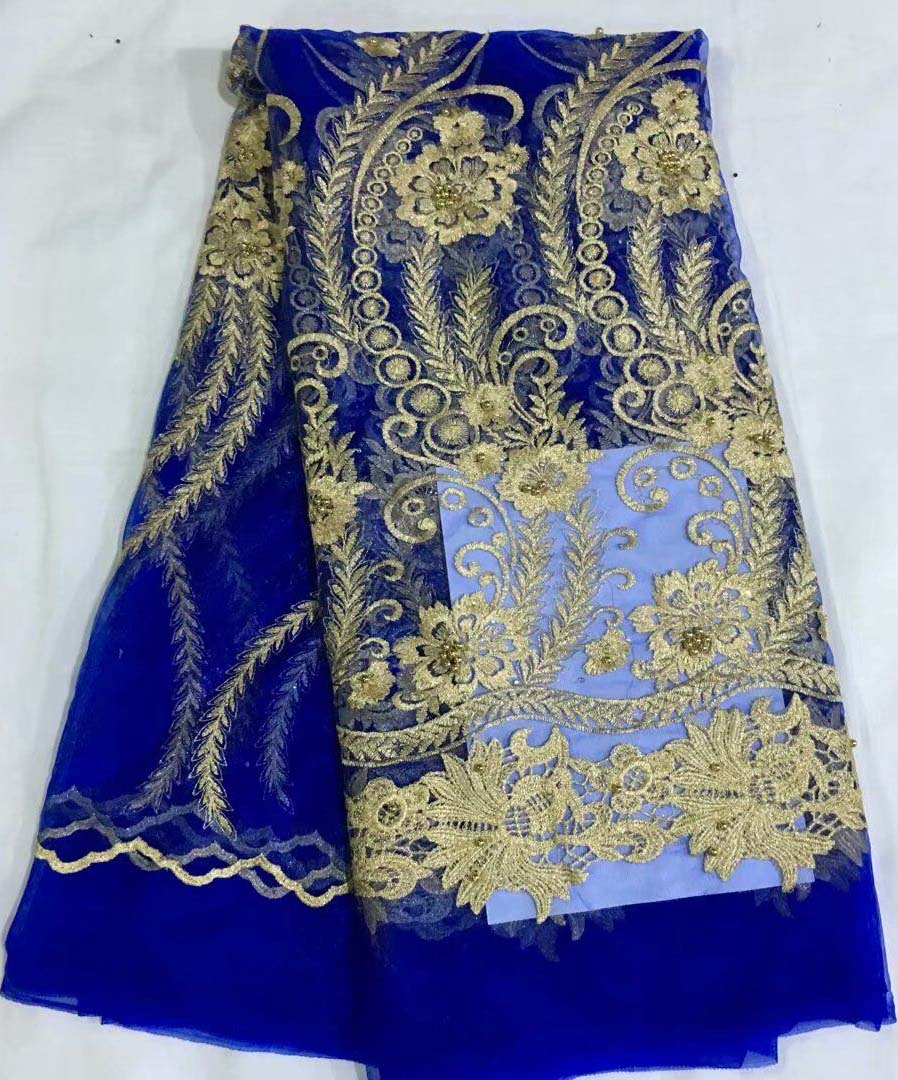 Latest French Lace Fabric High Quality African Lace Material With Beaded Beautiful Flower Embroidery Bridal Lace