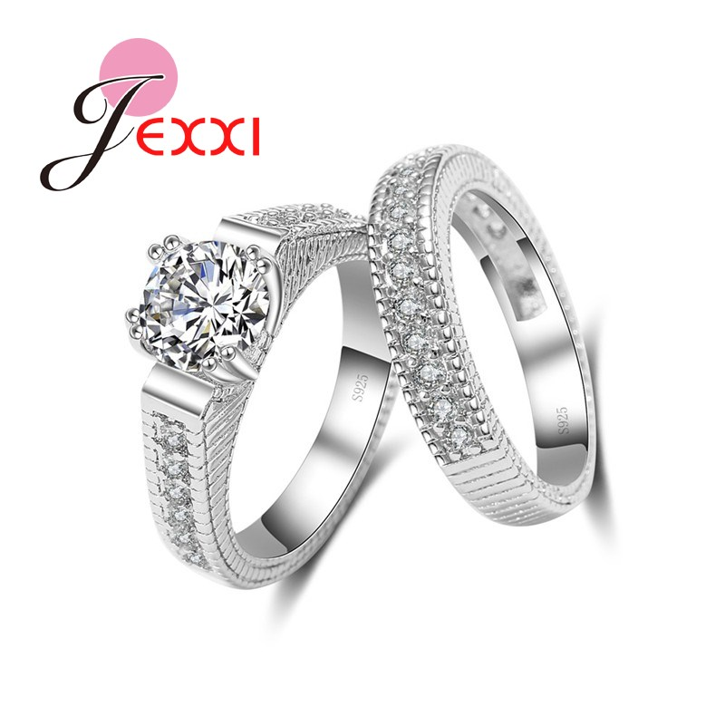 JEXXI Elegant Wedding Engagement Rings Set 2 PCS 925 Sterling Silver Anniversary Aksesoris Dengan Batu Cubiz Zircon Shiny Penuh