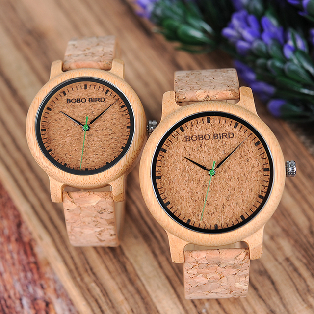 BOBO BIRD Watches Bamboo Couple Clocks Analog Display Bamboo Material Handcrafted Timepieces Wooden Watch Men Made in China 1