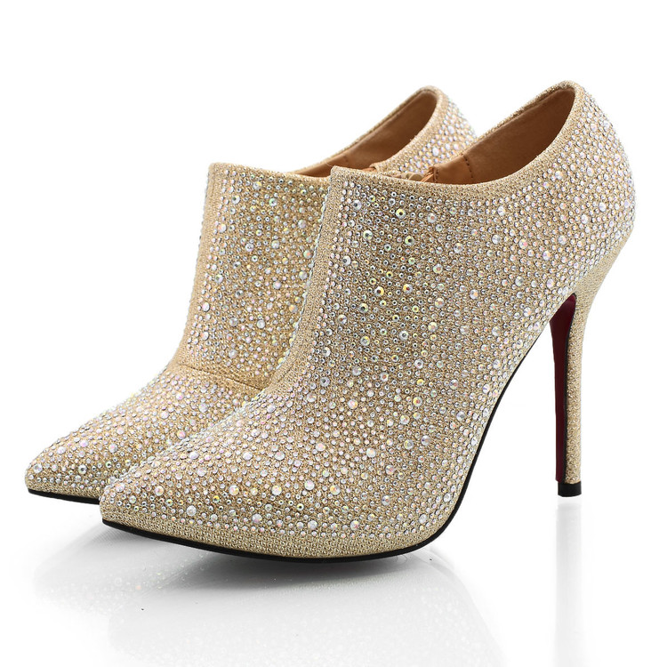 Free Shipping 2017 Diamond Pointed High Heels Female Deep Mouth Shoes Ankle Boots With Fine Bride Wedding Shoes Dress Crystal 2017 fashion flowers diamond pendant bride shoes high with fine with photography single shoes for women s shoes wedding shoes