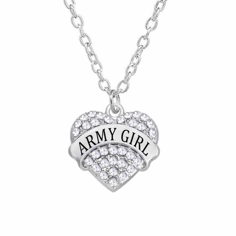 """קסמי טון סגסוגת כסף תכשיטי ריינסטון לבבות צבא צבא ארה""""ב ילדה שרשרת"""