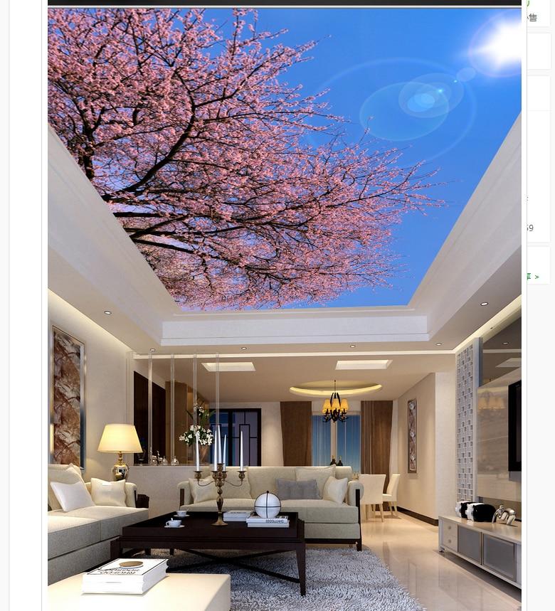 Ceiling wallpaper flower blue sky sun roof ceiling fresco for 3d roof wallpaper
