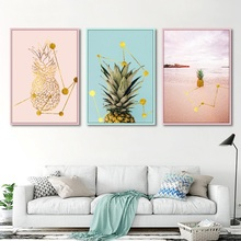 Nordic Cute Fresh Pink and Golden Pineapple Simple Home Decorative Painting Canvas Picture for Girls Room Wall Art Pictures