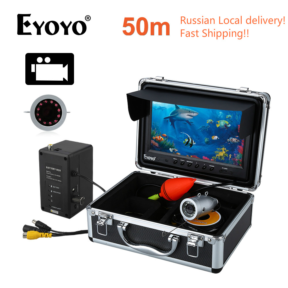 Russian Local delivery!EYOYO HD 1000TVL 50M Underwater Fishing Camera 9 Video Fish Finder Recording DVR 8GB Infrared LED CAM eyoyo original 50m 1000tvl hd cam professional fish finder underwater fishing video recorder dvr 7 w infrared ir led lights