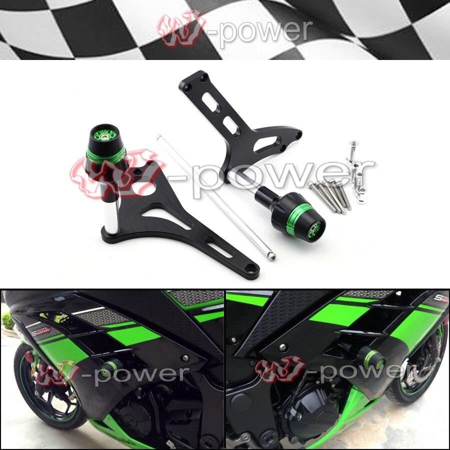 Для Kawasaki ниндзя 250/300 2013-2014 Рама мотоцикла слайдеры крушение протектор падение Защита зеленый