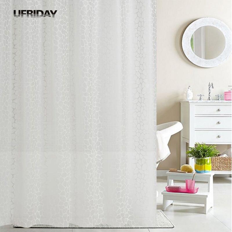 UFRIDAY PEVA Shower Curtain Fabric Translucent Fresh Waterproof Bath Curtain Cortinas Ducha Durable Mildew Shower Curtains Hook