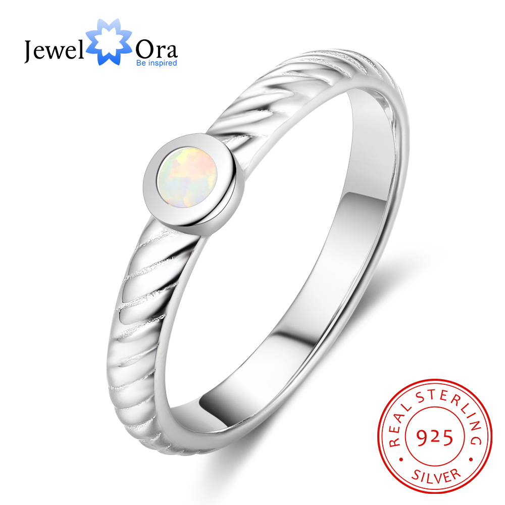 925-Sterling-Silver Jewelry Opal-Stone Engagement Ring Accessorise Classic Women Soild