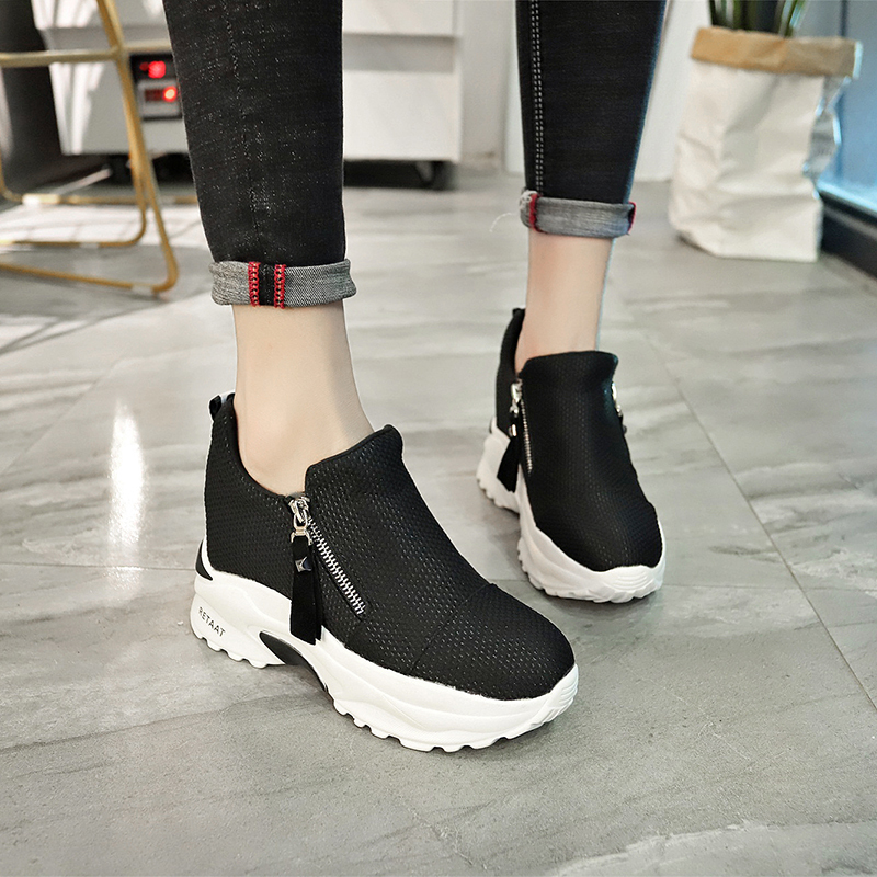 Lucyever 2019 New Spring Ladeis Casual Sneakers Women Height Increasing Vulcanized Shoes Woman Footwear Leisure Ankle Boots 4