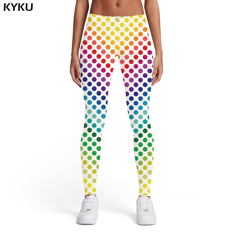 KYKU Psychedelic Leggings Women Colorful Sport Gothic Trousers Art Elastic Dizziness 3d Print Womens Leggings Pants Fitness
