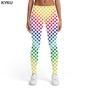 KYKU Psychedelic Leggings Women Colorful Sport Gothic Trousers Art Elastic Dizziness 3d Print Womens Leggings Pants Fitness