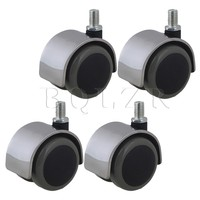 4pcs Stainless Steel PU BQLZR Office Chair Swivel Casters Wheels Thread Stem