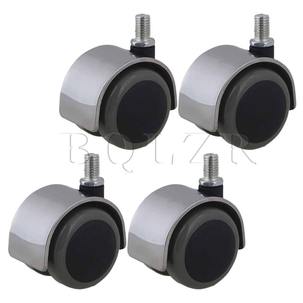 4pcs Stainless Steel PU BQLZR Office Chair Swivel Casters Wheels Thread Stem screw rod 2 inches plastic casters 50mm thread swivel wheels black