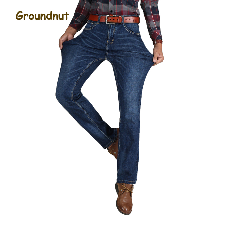 Groundnut Brand Elastic Slim Business Straight Leg High Waist Jeans Men Denim Pants Male Casual Trousers 2017 New Arrival fongimic new men clothing summer thin casual jeans mid waist slim long trousers straight high quality men s business denim jeans