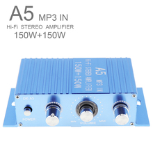 Car Amplifier A15 DC12V 2.0 Two Channel MP3 Hi-Fi Stereo Amplifier 150W 3.5mm Aux Audio Jack for Car MP3 PC CD Speaker Subwoofer 160w 2 bluetooth tda7498e home digital amplifier stereo hi fi audio power amplifier apt x