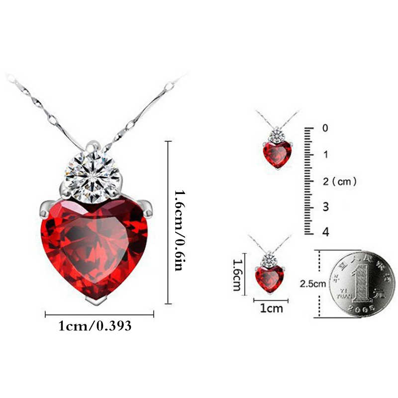 Romantische Liebe Herz Schmuck Sets Frauen Hochzeit CZ Kristall Halskette Ohrringe Afrikanische Perlen Schmuck Sets Silber Farbe Bijoux