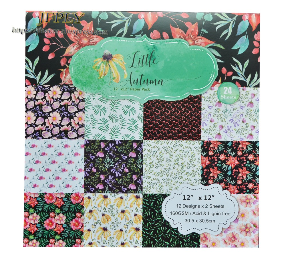 DIY Album Photo Scrapbooking set Flower Decorative Papers Craft paper 12inch X 12 inch Single Side Printed 24 pcs/Set image