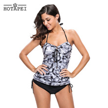 Two-Piece Abstract Circle Print Halter Tankini
