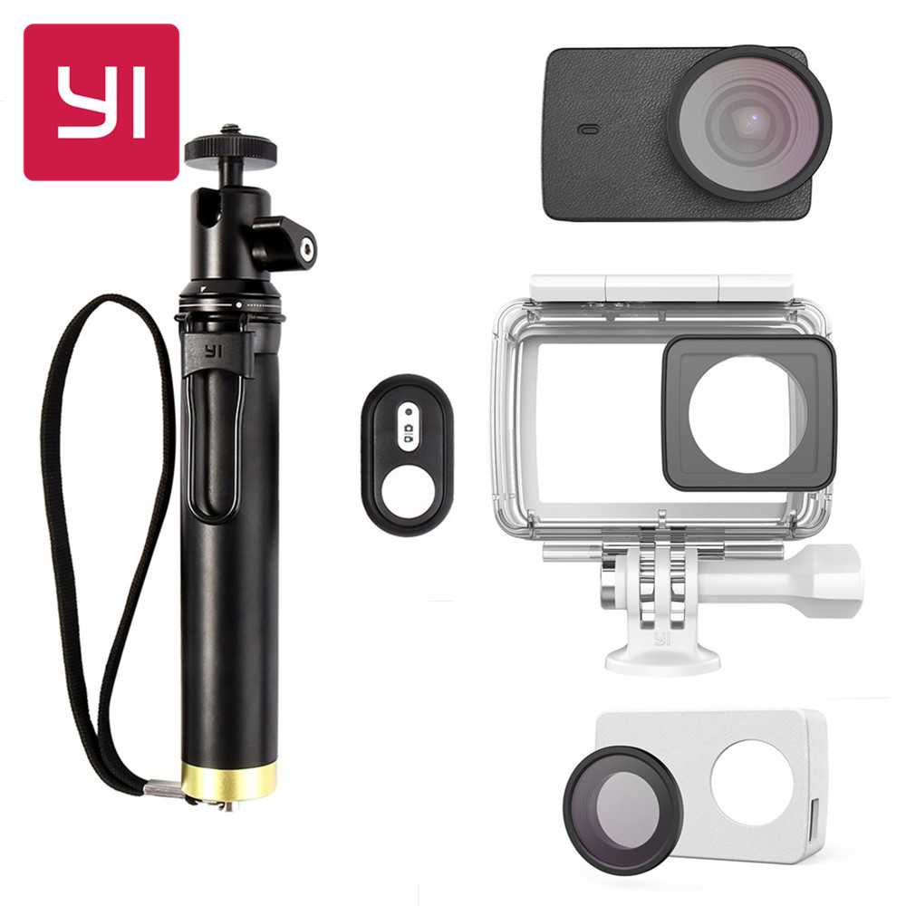 YI 4K Camera Waterproof Case With Selfie stick Bluetooth Remote Protective Lens Leather case Underwater Sports