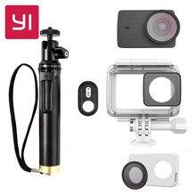 YI 4 K Caméra Boîtier Étanche Avec Selfie bâton & Bluetooth télécommande et Objectif et étui En Cuir De Protection Sous-Marine Sport YI officiel