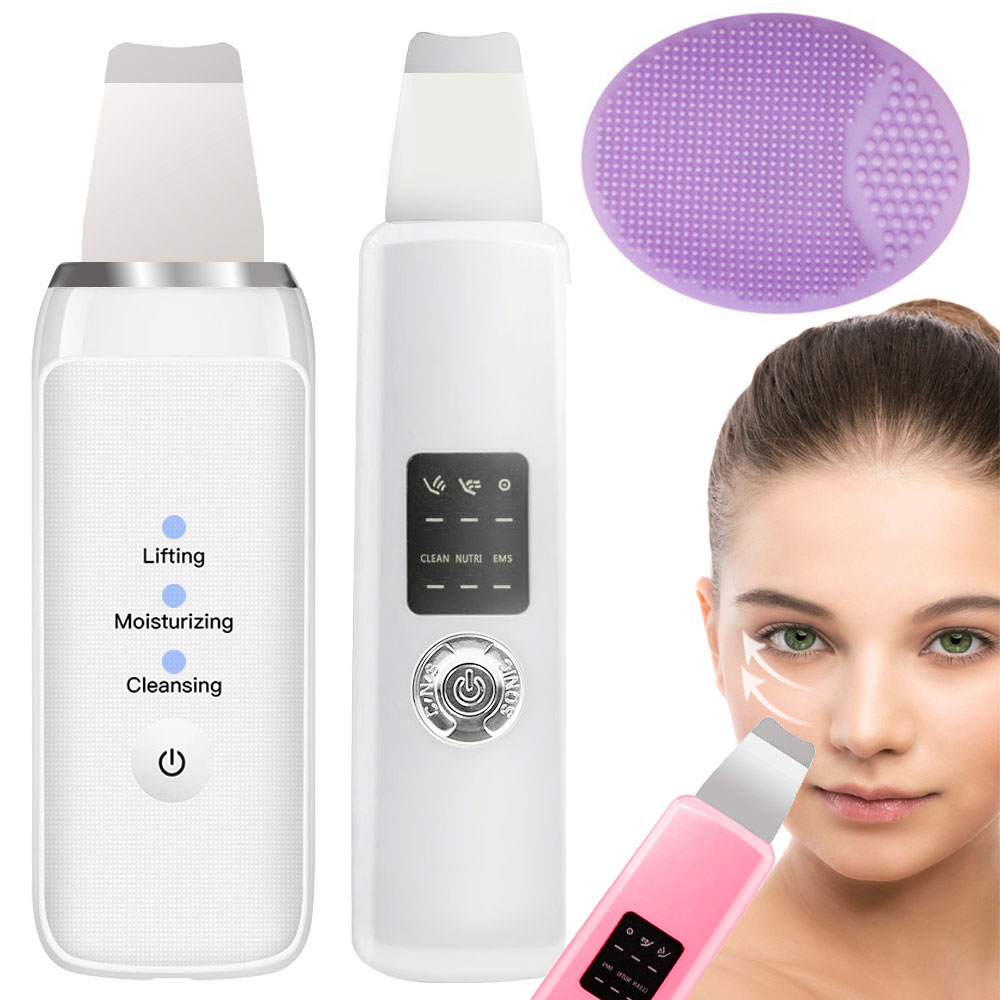 Ultrasonic Ion Skin Scrubber Deep Face Cleaning Massager Machine EMS Facial Care Cleanser Spatula Brush Device Blackhead Remover