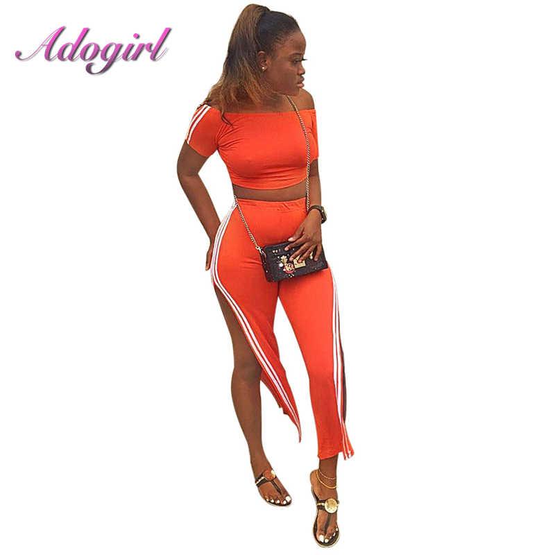 Женский спортивный костюм оранжевого цвета с полосками по бокам, 2 предмета, укороченный топ с высоким разрезом и широкими штанинами по щиколотку
