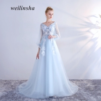 Weilinsha Sky Blue Tulle Evening Dresses Simple Special Occasion Full Sleeves Party Prom Vestido De Festa