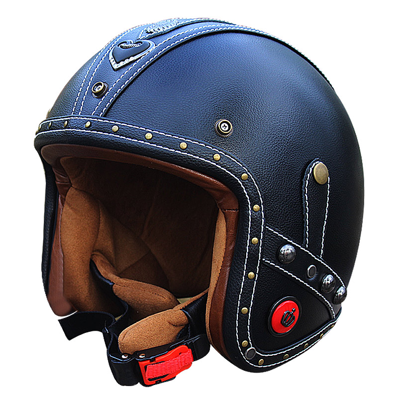 Vcoros Leather vintage motorcycle helmets 3/4 open face moto scooter retro helmets personalized handcraft leather helmet| | |  - title=