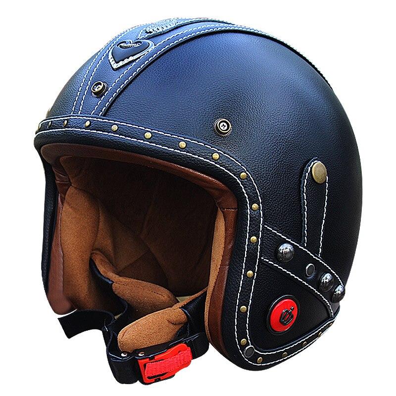 Vcoros Véritable En Cuir vintage moto casques 3/4 open face moto scooter rétro casques personnalisé artisanat en cuir casque