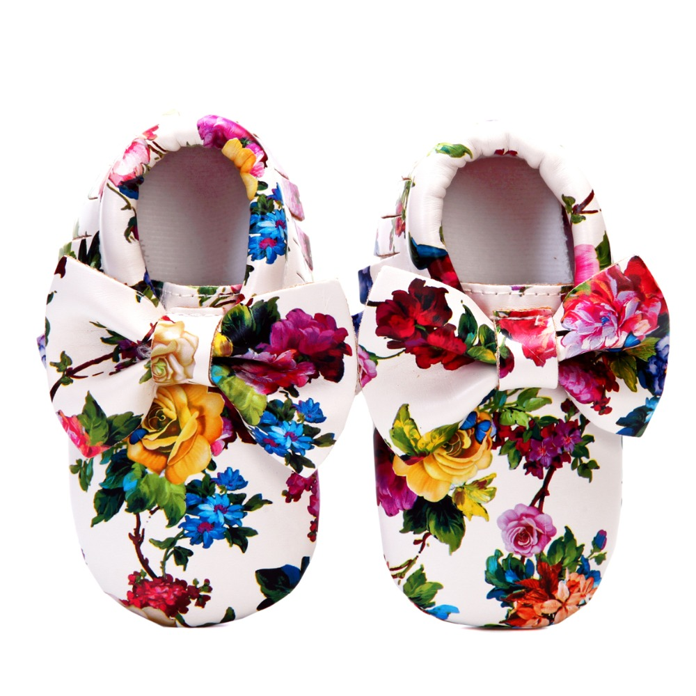 Fashion Baby Moccasins Girls Flowers Bow Toddler Shoes Soft Sole PU Leather 0-6 6-12 12-18 18-24 Children Footwear First Walkers