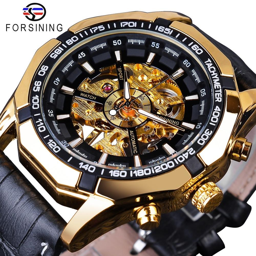 Forsining Waterproof Golden Black Skeleton Clock Two Button Decoration Mechanical Wrist Watches for Men Black Genuine Leather 1