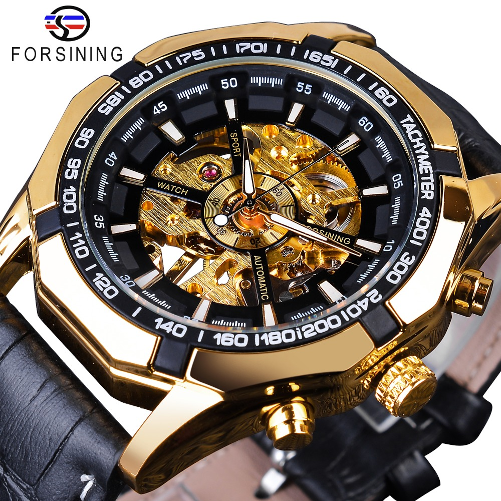 Forsining Waterproof Golden Black Skeleton Clock Two Button Decoration Mechanical Wrist Watches For Men Black Genuine Leather