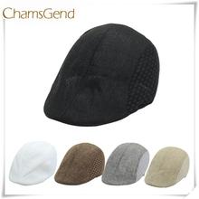 Chamsgend nowy projekt wysokiej jakości mężczyzna kobiet rocznika beret czapka gazeciarz lnu kapelusz przeciwsłoneczny June18 Drop Shipping tanie tanio Berety Akrylowe Dla dorosłych Unisex Na co dzień Stałe Sun065060810