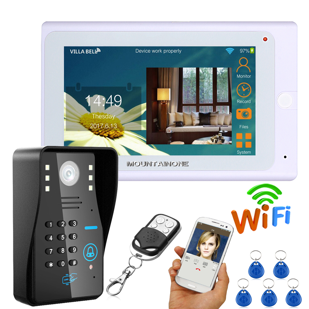 7 Wired Wireless Wifi RFID Password Video Door Phone Doorbell Intercom System with IR CUT HD1000TVL