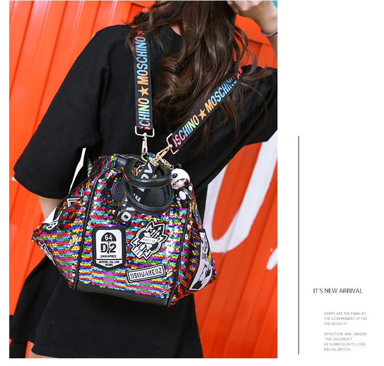 backpack women Fashion Women Bling Shiny Sequins Sparkling Shoulder Bags Larger Capacity Drawstring Bag backpack 75