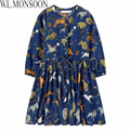 W.L.MONSOON Girls Dress Winter 2017 Spring Brand Children Costumes Princess Dress Animal Pattern Kids Dresses for Girls Clothes